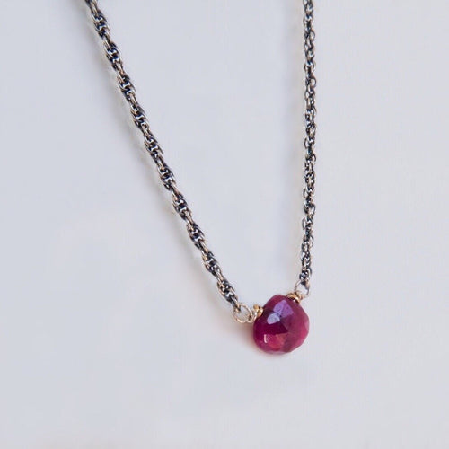 Tiny Teardrop Ruby Pendant Necklace
