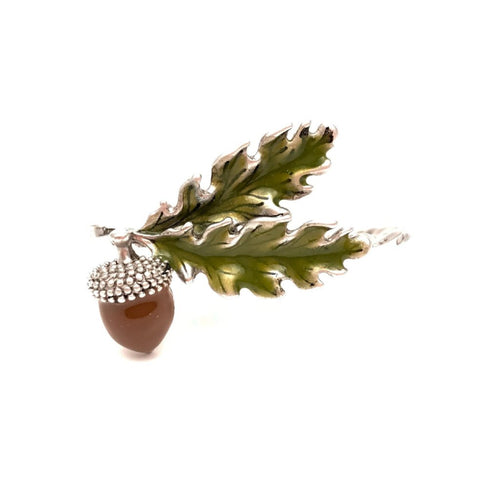 Acorn Two Finger Ring (Silver/Brown)