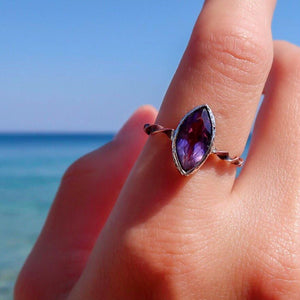 Marquis Faceted Amethyst Ring