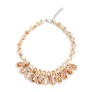 Ribbon Candy Drape Necklace & Earrings Set (Caramel)