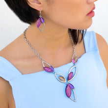 Lavender Resin & Rhodium Necklace Set