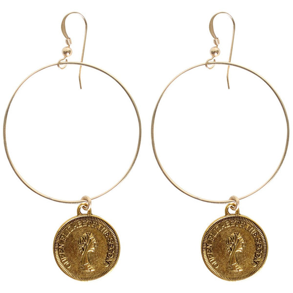Coin on Hoop Earring