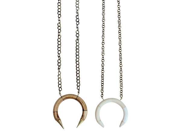 Long Brass Crescent Necklace