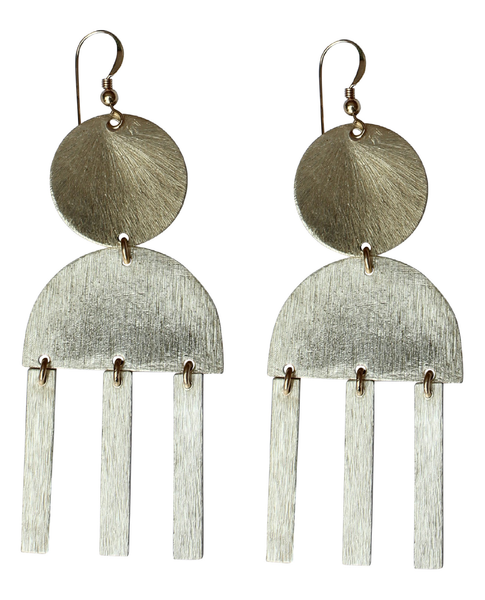 Gold Shapes + Hanging Bars Earring
