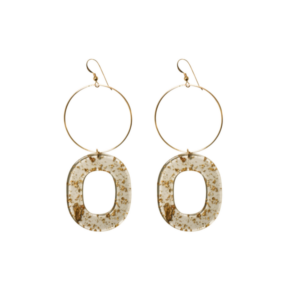 Gold Leaf Hoop Earring