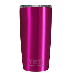 20 oz Powder Coated YETI Tumbler - Electric Pink