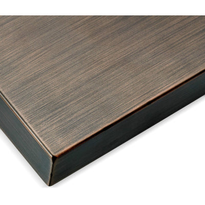 Oil Rubbed Bronze Stainless Steel Cover for Rectangular Drop-In Fire Pit Pan - Corner View