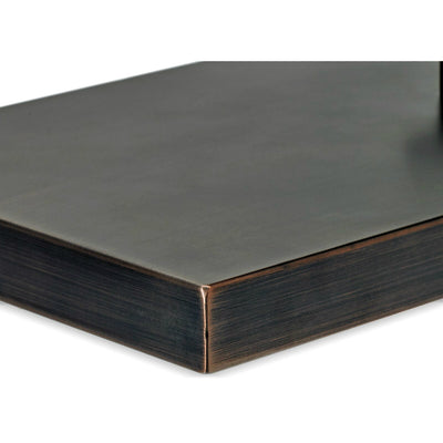 Oil Rubbed Bronze Stainless Steel Cover for Rectangular Drop-In Fire Pit Pan - Corner Close View