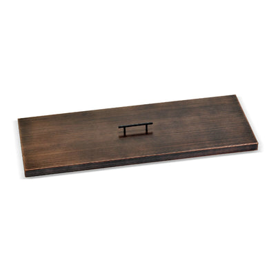 "Oil Rubbed Bronze Stainless Steel Cover for 36"" x 12"" Rectangular Drop-In Fire Pit Pan"