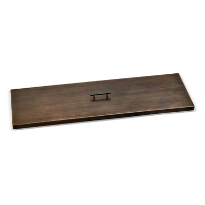 "Oil Rubbed Bronze Stainless Steel Cover for 48"" x 14"" Rectangular Drop-In Fire Pit Pan"