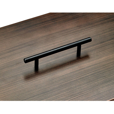 Oil Rubbed Bronze Stainless Steel Cover for Rectangular Drop-In Fire Pit Pan - Handle View