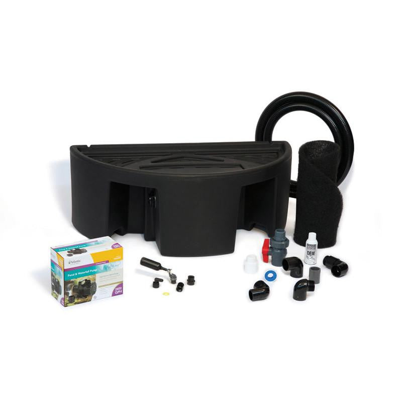 Front View-Box-12 Inch Basin and Pump Kit for Formal Spillways with Accessories-Atlantic Water Gardens