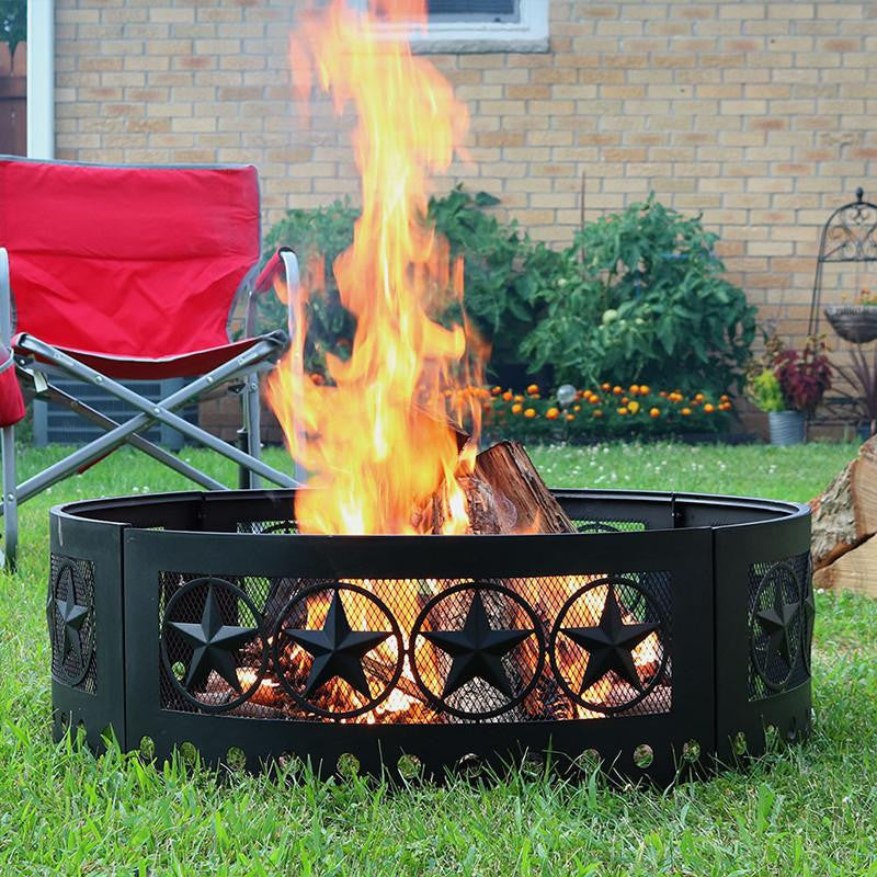 Sunnydaze Decor - Sunnydaze 36 Inch Heavy Duty Four Star Campfire Ring - Inspired Fire and Water Features