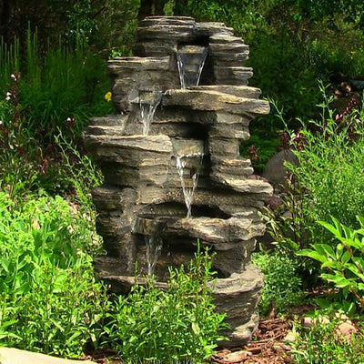 "Sunnydaze Decor - Sunnydaze 39"" Rock Falls Fountain with LED Lights - Inspired Fire and Water Features"