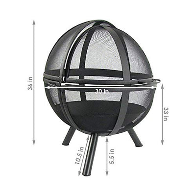 Sunnydaze Flaming Ball Fire Pit - Outdoor 30 Inch Round Wood Burning Backyard & Patio Firepit - Portable Black Sphere - Protective Cover
