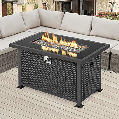 U-MAX Outdoor Propane Gas Fire Pit Table, 44 Inch 50,000 BTU Gas Auto-Ignition Rectangle Firepit for Patio with Black Rattan Surface,Tempered Glass Lid & Glass Stone Rock CSA Certification