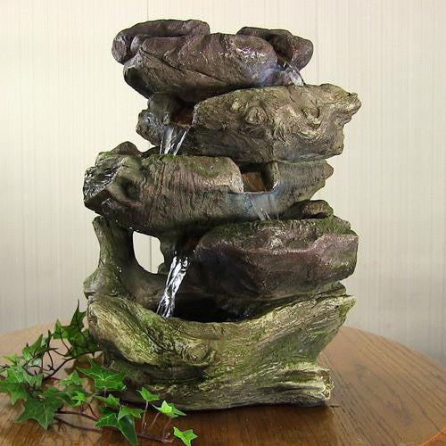 5-Step Rock Falls Tabletop Fountain with LED Lights by Sunnydaze Decor