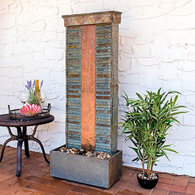 Sunnydaze Outdoor Water Fountain - Large Rippled Slate Garden Water Feature - Backyard Waterfall with Copper Accents & LED Spotlight - 48 Inch Tall - Perfect for Yard, Garden, Patio or Porch