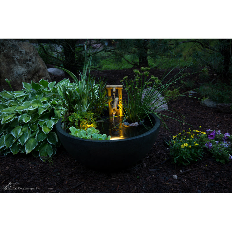 Aquascape® Aquatic Patio Pond 32 Inch Green Slate   Outside Wide Night View    Inspiredfireandwaterfeatures
