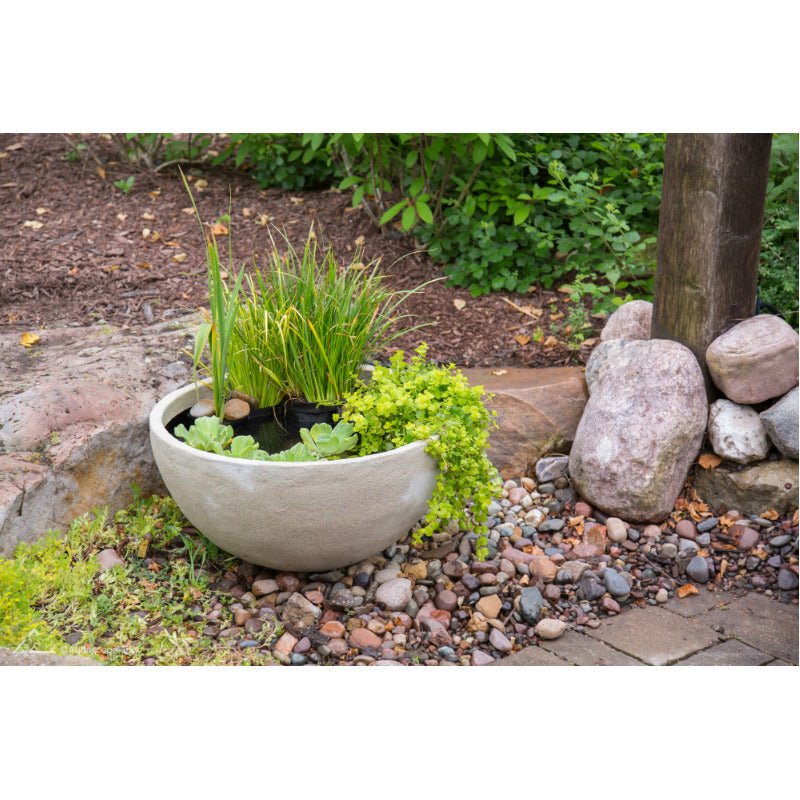 Aquascape® Aquatic Patio Pond 24 Inch Desert Granite  Outside Wide View    Inspiredfireandwaterfeatures.