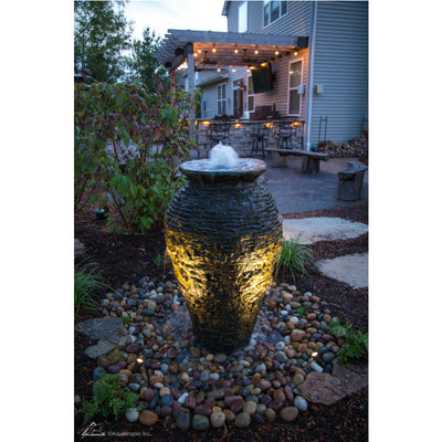 Aquascape® - Medium Stacked Slate Urn Fountain - Inspired Fire and Water Features