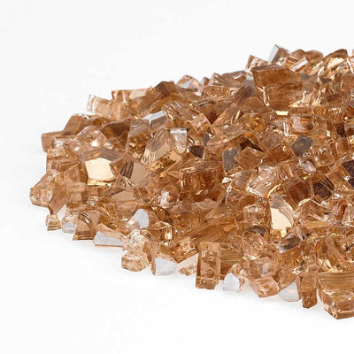 American Fireglass 1/4 Inch Champagne Reflective Fire Glass 10lbs - Left Pile