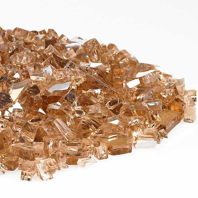 American Fireglass 1/4 Inch Champagne Reflective Fire Glass 10lbs - Right Pile