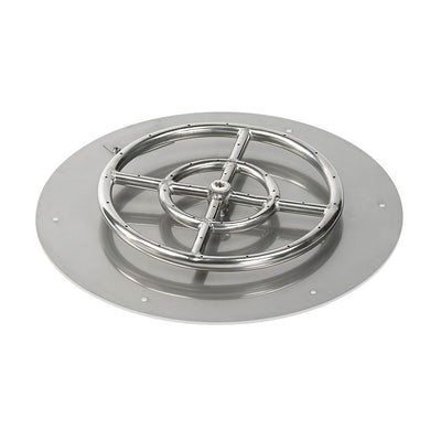"American Fireglass 18 Inch Round Stainless Steel Flat Pan with S.I.T. System (12"" Ring) - Propane - Fire Pan-Ring View"
