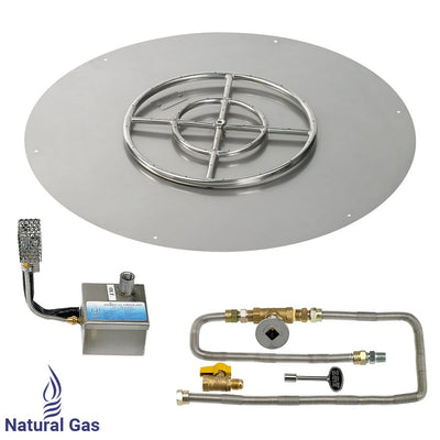 "American Fireglass 36 Inch Round Stainless Steel Flat Pan with S.I.T. System (18"" Ring) - Natural Gas - Main View"