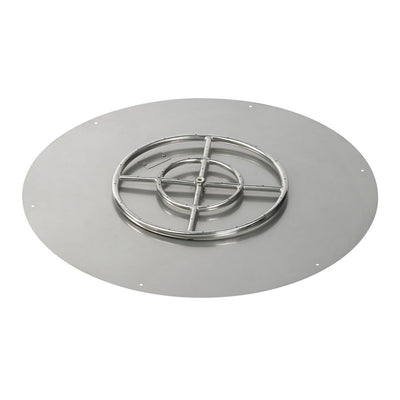 "American Fireglass 36 Inch Round Stainless Steel Flat Pan with S.I.T. System (18"" Ring) - Natural Gas - Fire Pan and Ring"