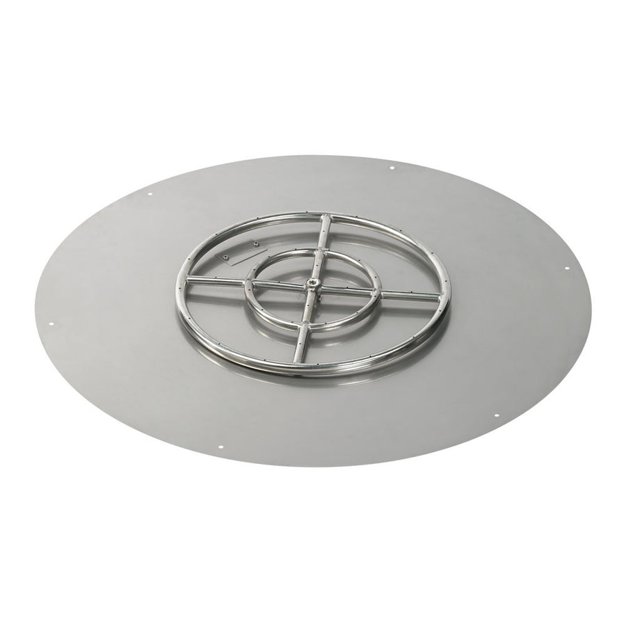 "American Fireglass 36 Inch Round Stainless Steel Flat Pan with S.I.T. System (18"" Ring) - Propane"