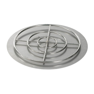 "American Fireglass 36 Inch Round Stainless Steel Flat Pan with S.I.T. System (30"" Ring) - Natural Gas - Fire Pan and Fire Ring"