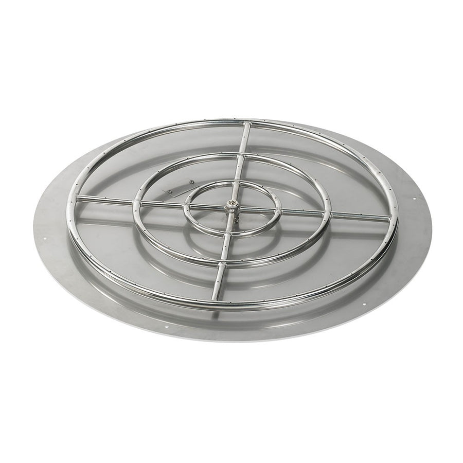 "American Fireglass 36 Inch Round Stainless Steel Flat Pan with S.I.T. System (30"" Ring) - Natural Gas"