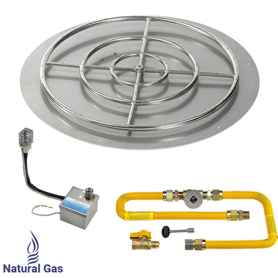 "American Fireglass 36 Inch Round Stainless Steel Flat Pan with S.I.T. System (30"" Ring) - Natural Gas - Main View"