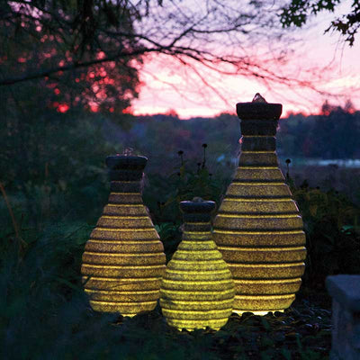 Atlantic 3 Piece Set Color Changing Vase Fountains - Yellow