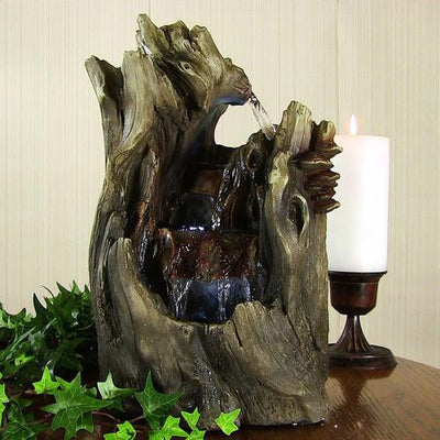 Sunnydaze Decor - Sunnydaze Cascading Caves Waterfall Tabletop Fountain with LED Lights - Inspired Fire and Water Features