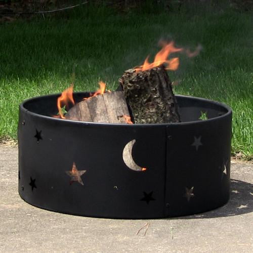 Sunnydaze Decor - Sunnydaze 23 Inch Cosmic Stars and Moon Fire Ring - Inspired Fire and Water Features