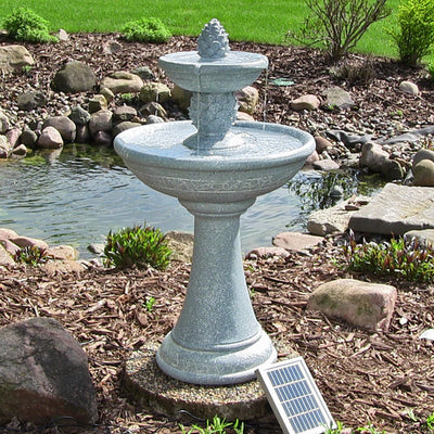 Dual Pineapple Solar On Demand Fountain by Sunnydaze Decor - Outdoor View