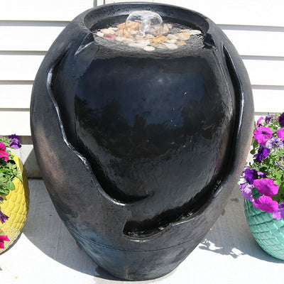 Sunnydaze Decor - Sunnydaze Decor Raku Basin Garden Fountain - Inspired Fire and Water Features