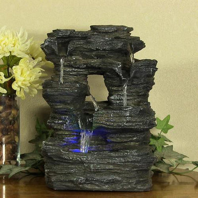 Sunnydaze Decor - Five Stream Rock Cavern Tabletop Fountain with Multi-Colored LED Lights - Inspired Fire and Water Features