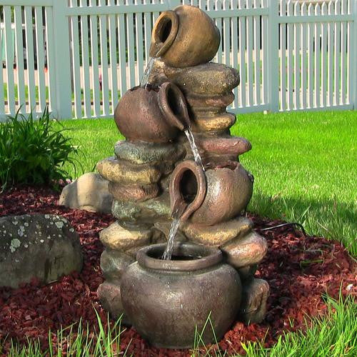Honey Pot With Stones Outdoor Fountain With LED Lights