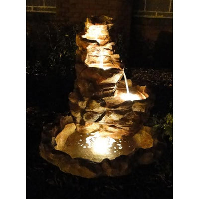 Sunnydaze Decor - Lighted Stone Springs Outdoor Fountain with LED Lights - Inspired Fire and Water Features