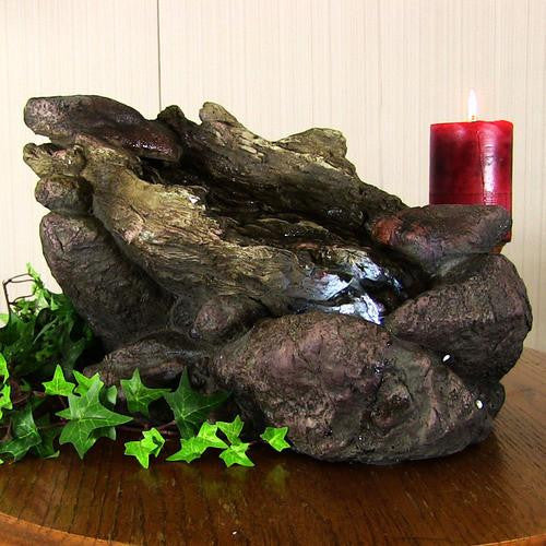 Log and Stone Tabletop Fountain with LED Lights
