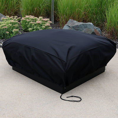 "36"" Square x 12"" Tall Black Fire Pit Cover - outside"