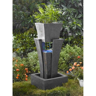Jeco Raining Water Outdoor LED Fountain with Planter - Garden View