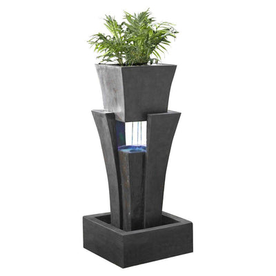 Jeco Raining Water Outdoor LED Fountain with Planter - Main View