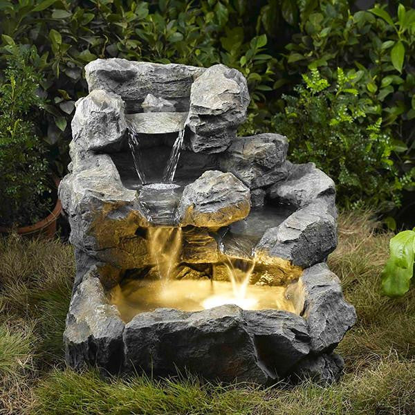 Jeco Rock Creek Cascading Outdoor/Indoor Fountain with Illumination