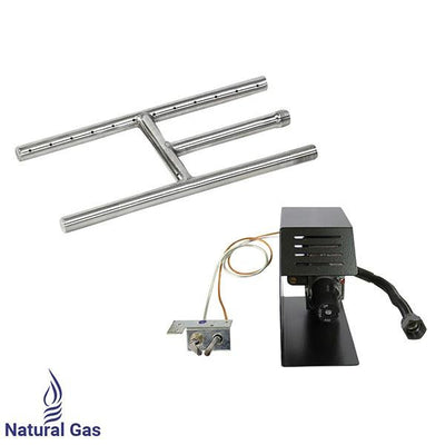 "12"" Stainless Steel H-Style Burner w/ Manual Safety Pilot-Natural Gas by American Fireglass - Main View"