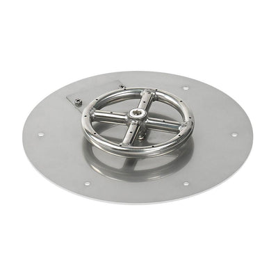 "American Fire Glass™ - American Fireglass 12 Inch Round Stainless Steel Flat Pan with S.I.T. System (6"" Ring) - Propane - Inspired Fire and Water Features"