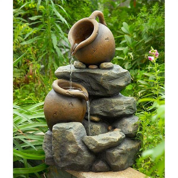 Jeco Small Pots Water Fountain with LED Light - Main View